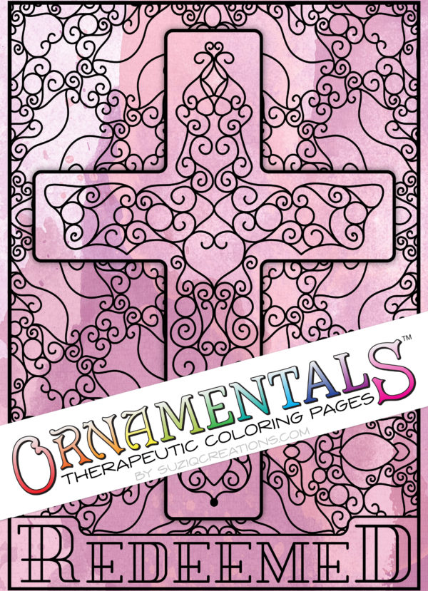 Redeemed Scrollwork Cross OrnaMENTALs #0101 Coloring Page Preview
