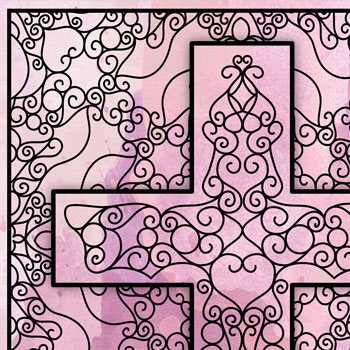 Scrollwork Cross OrnaMENTALs #0101 Coloring Page Thumbnail