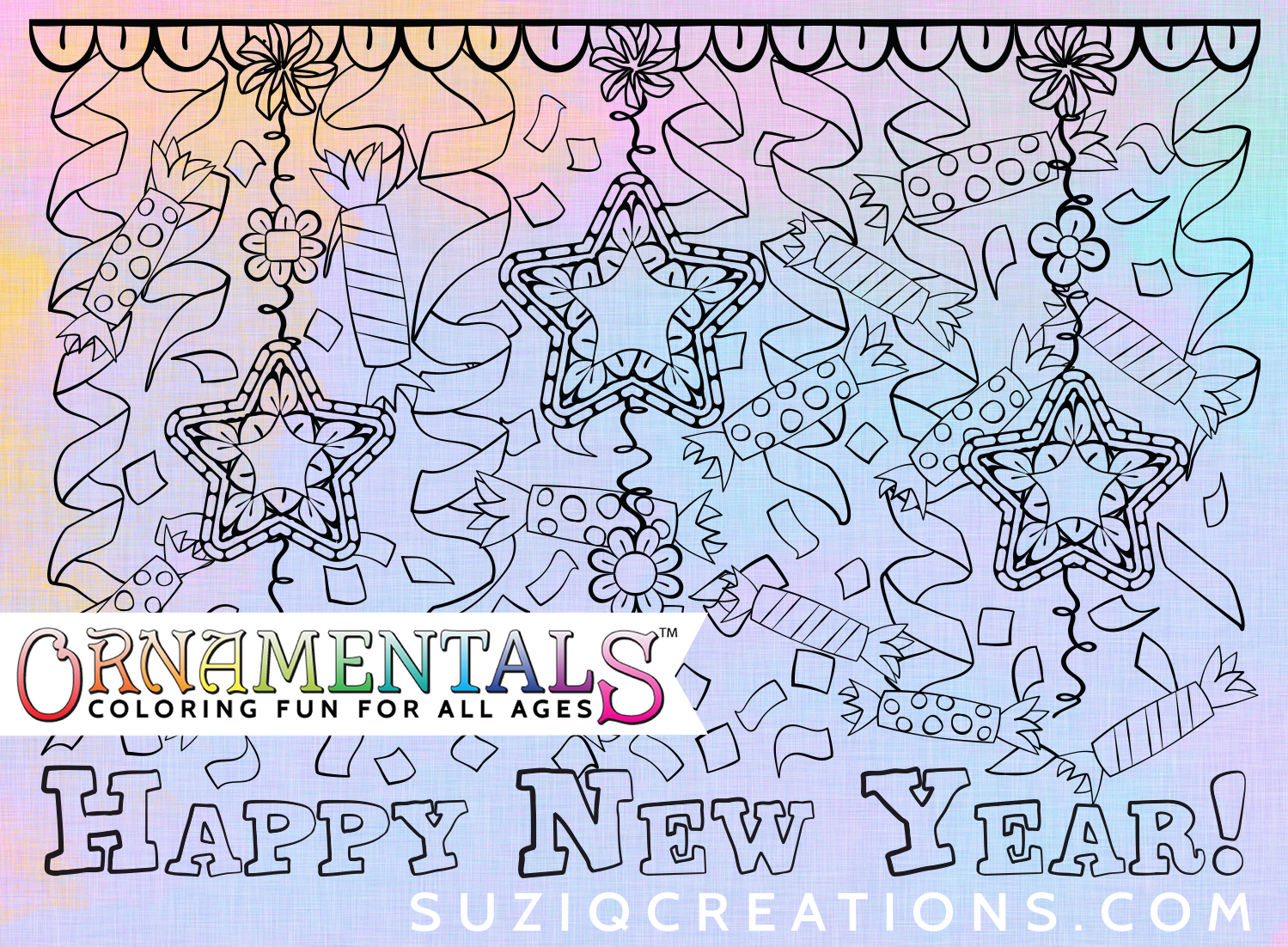 "OrnaMENTALS #0112 ""Happy New Year"" Coloring Page Preview"