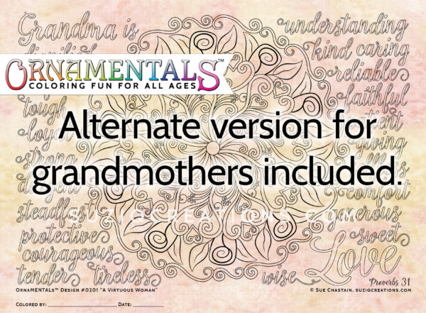 A Virtuous Woman Coloring Page for Grandmothers