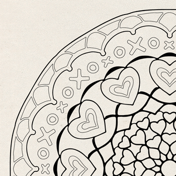 So Much Love Coloring Page OrnaMENTALS #0008 Thumbnail
