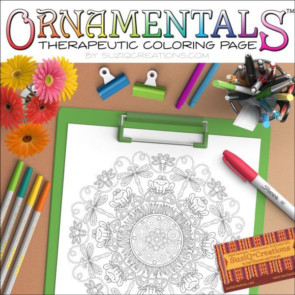 No Flies on Me Frog Coloring Page - OrnaMENTALs Design #0036