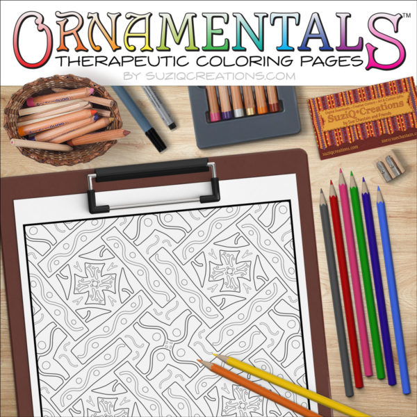 "OrnaMENTALS #0040 ""Cross Pieces"" Coloring Page Scene"