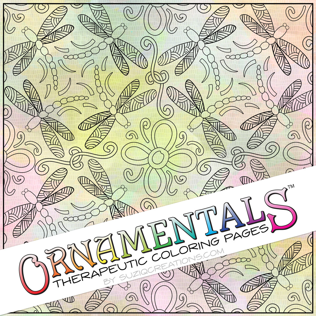 "OrnaMENTALS #0043 ""Dragonflies Dance"" Coloring Page Preview"