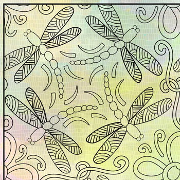 "OrnaMENTALS #0043 ""Dragonflies Dance"" Coloring Page Thumbnail"