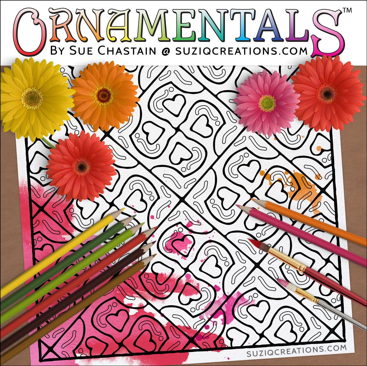 A Lovely Puzzle OrnaMENTALs Coloring Page Design #0046 Digital Download Coloring Scene