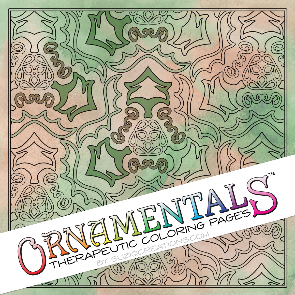 Tribal Triptych OrnaMENTALs Coloring Page Design #0048 Digital Download Coloring Preview