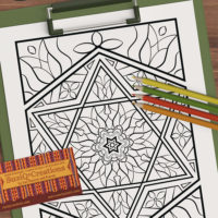 """Shalom"" Star of David stained glass coloring page OrnaMENTALs scene"