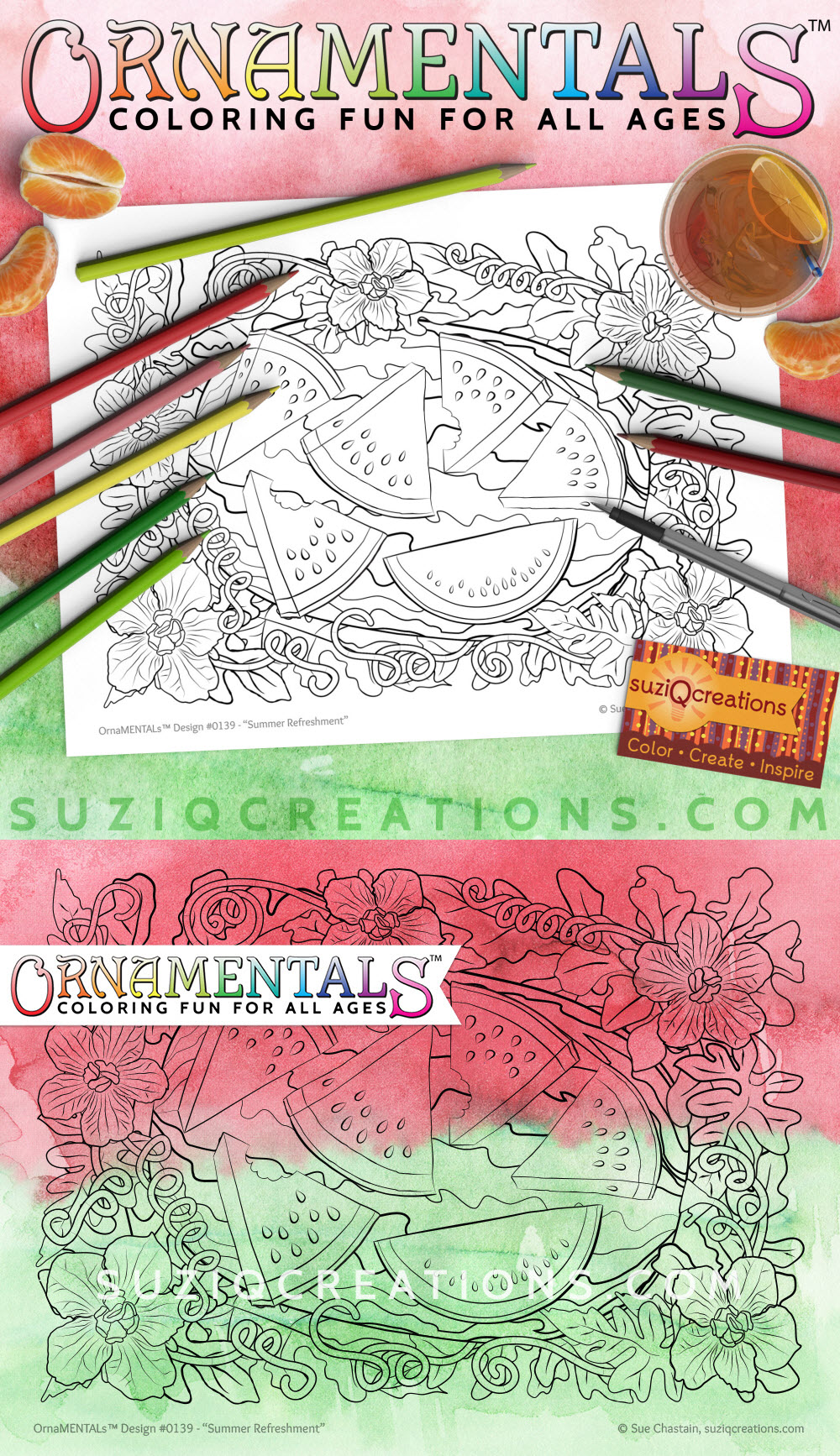 Summer Refreshment Coloring Page Preview - OrnaMENTALsDesign #0139