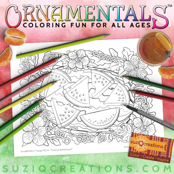 Summer Refreshment Coloring Page OrnaMENTALs Design #0139