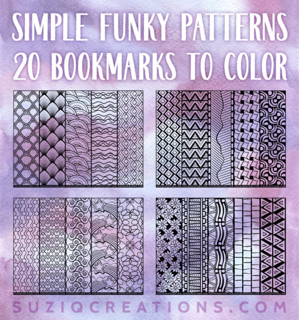 Preview of Simple Funky Pattern Bookmarks to Color