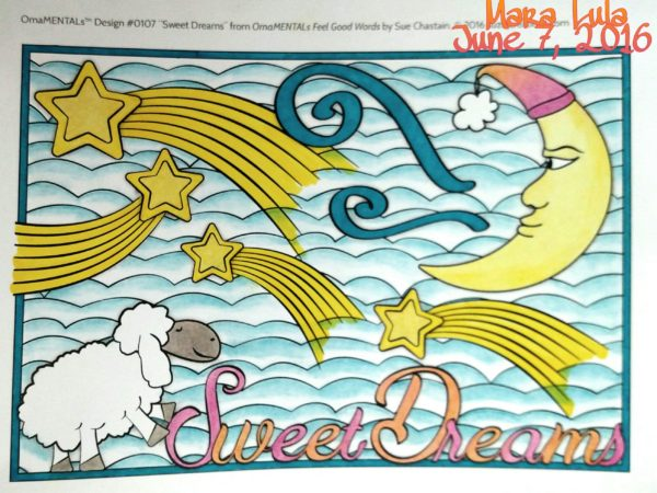 """Sweet Dreams"" from Feel Good Words, colored by Mara."