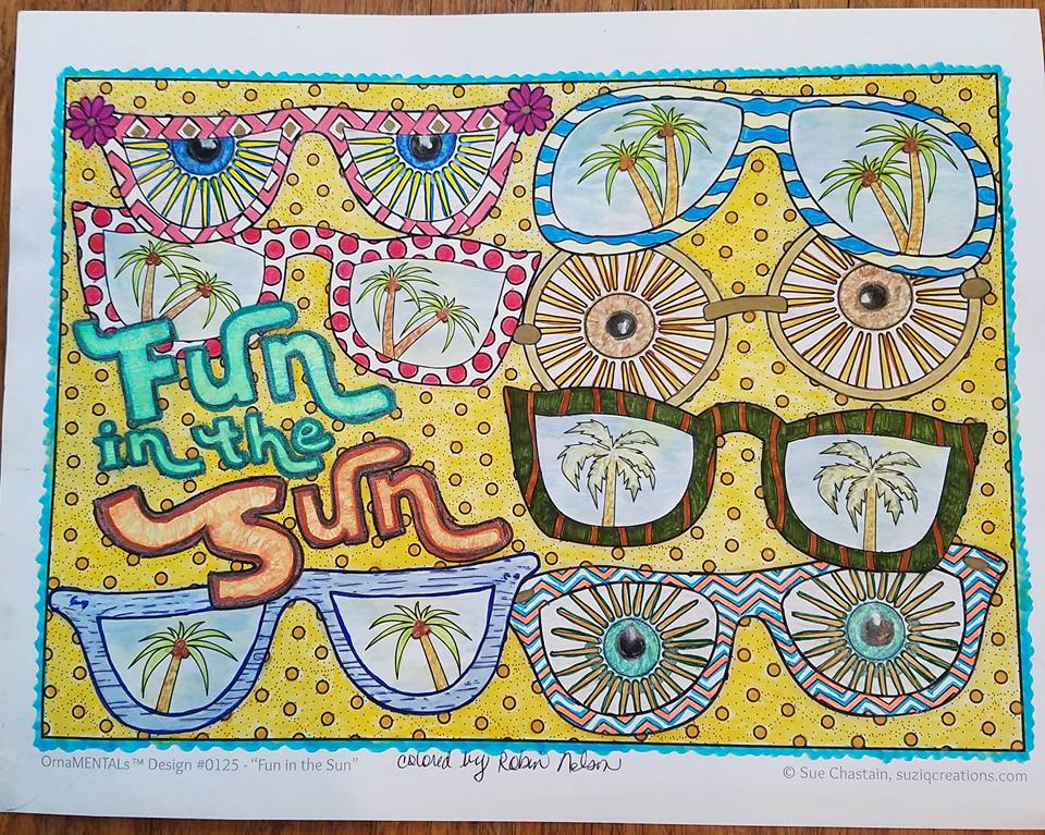 """Fun in the Sun"" colored by Robin Nelson"