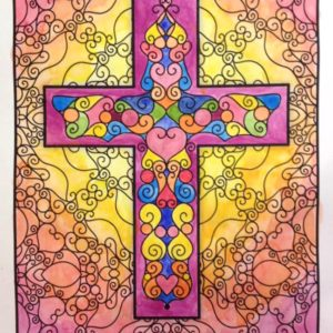 Colored by Sue Chastain - Scrollwork Cross
