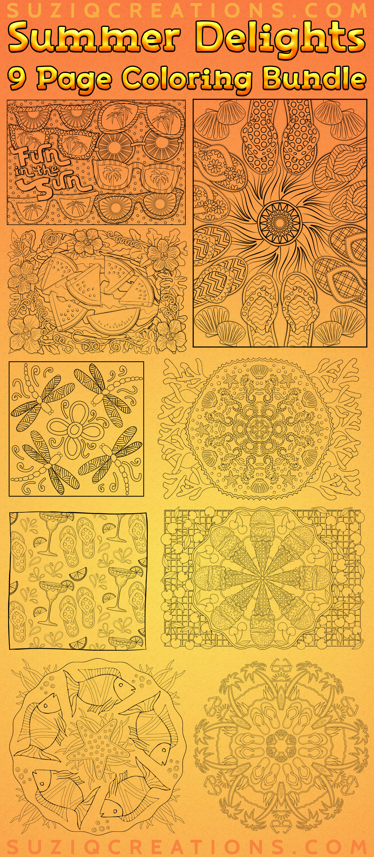 Summer Delights OrnaMENTALs Coloring Bundle Preview