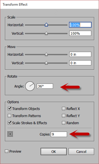 Illustrator's Transform Effect Dialog Box