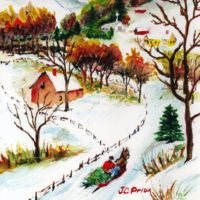 Winter Sleigh Ride Mountain Christmas Scene