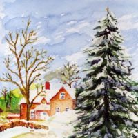 Home for Christmas Snowy Winter Watercolor