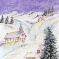 Starry Night Christmas Church Painting