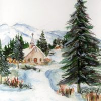 Country Church Winter Watercolor Mountain Scene