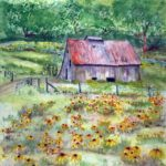 Old Barn in Field of Wildflowers