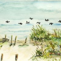 North Carolina Outer Banks Beach Watercolor