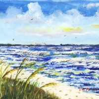 Tampa Bay Beach Painting with Skyway Bridge