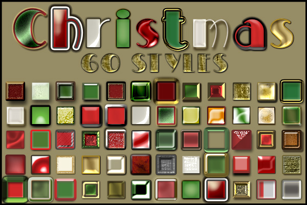 60 Free Christmas Layer Styles Preview
