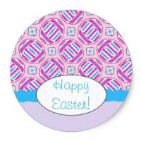 Cute Pink and Blue Easter Eggs and Flowers