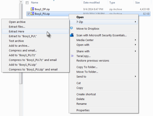 Unzipping with 7-Zip installed