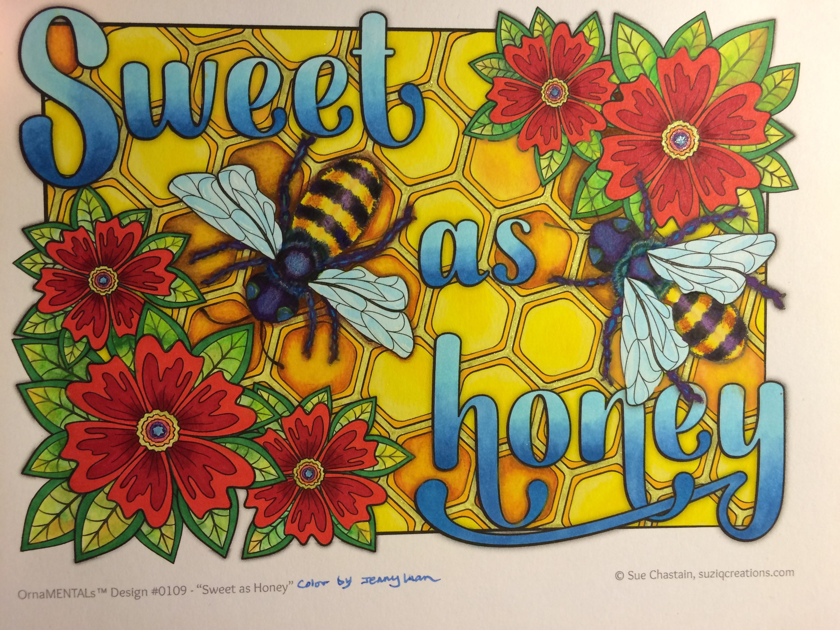 """Sweet as Honey"" from Feel Good Words, colored by Jenny Luan."