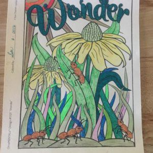 """Wonder"" from Feel Good Words, colored by Sandra Mills."