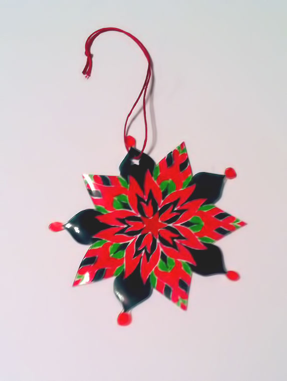 Mandala Shrinky-Dink Christmas Ornament