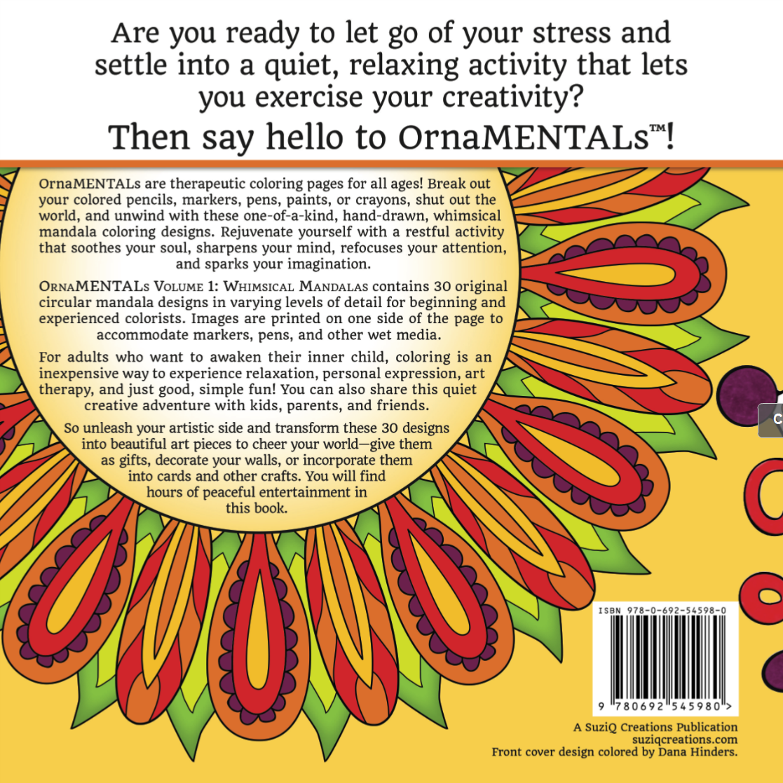 Back Cover of OrnaMENTALs™ Volume 1: Whimsical Mandalas