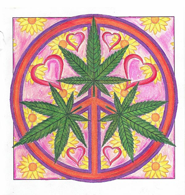 """Peace, Love and Toke"" colored by David Wilmoth"