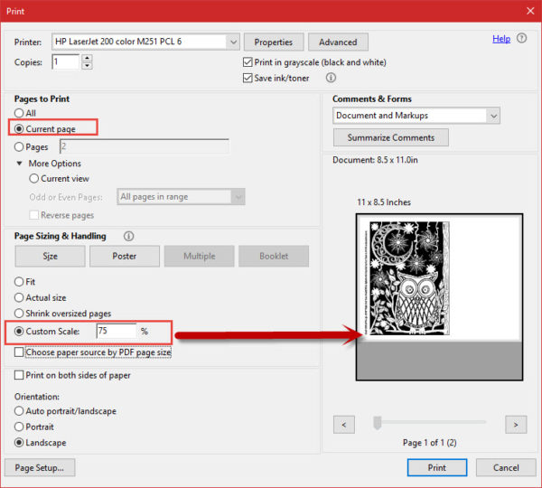 Scaling the print size in Adobe Reader
