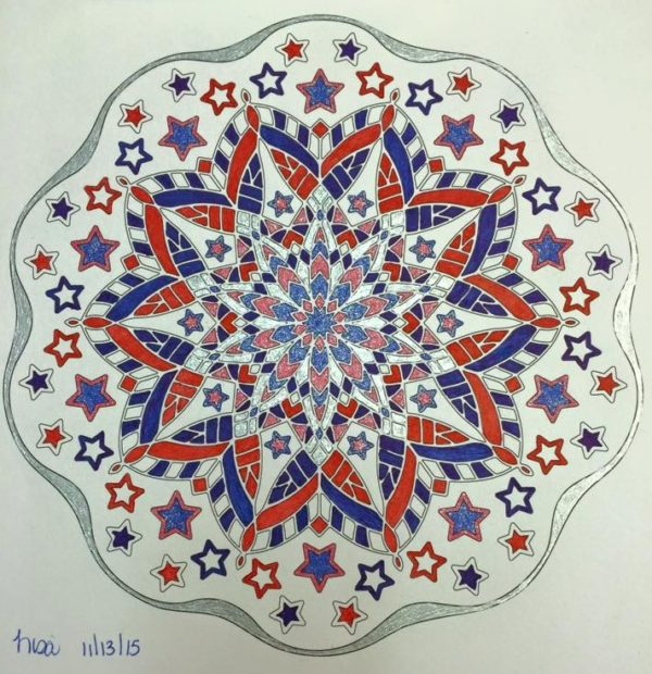 Stars and Stripes, Ornamentals #0008, Colored by Lisa Frey..