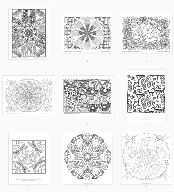 Summer Delights coloring bundle page thumbnails