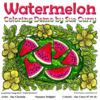 Watermelon Coloring Progression by Sue Curry